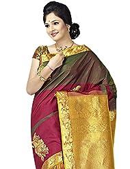 Pure Silk Kanjeevaram Hand Woven Saree-Brown-JG6-Silk