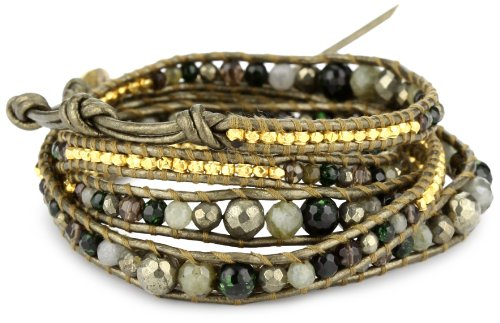Chan Luu Semi Precious Stone and Plated Beads on Leather Bracelet