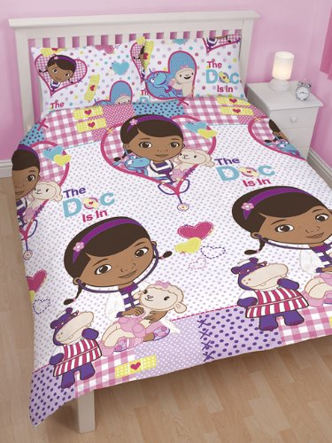 DISNEY DOC MCSTUFFINS PATCH DOUBLE DUVET SET QUILT COVER CHILDRENS KIDS BEDDING