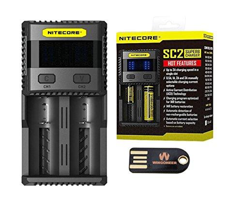 Nitecore SC2 Superbe Chargeur 3A Speedy Chargeur pour 16340/18650 / RCR123A / 14500 avec WINGONEER USB LED Light
