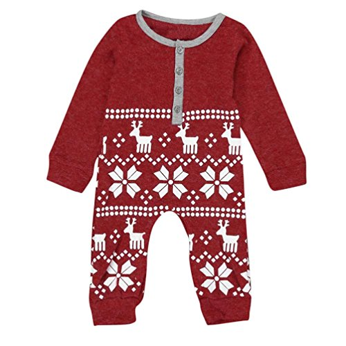 [Yoyorule Xmas Deer Baby Boys Girls Knit Romper Jumpsuit Bodysuit Clothes Outfits (18 Months, Red)] (Reindeer Infant Costumes)
