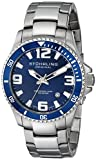 Stuhrling Original Mens 395.33U16 Aquadiver Regatta Champion Professional Diver Swiss Quartz Date Blue Bezel Watch