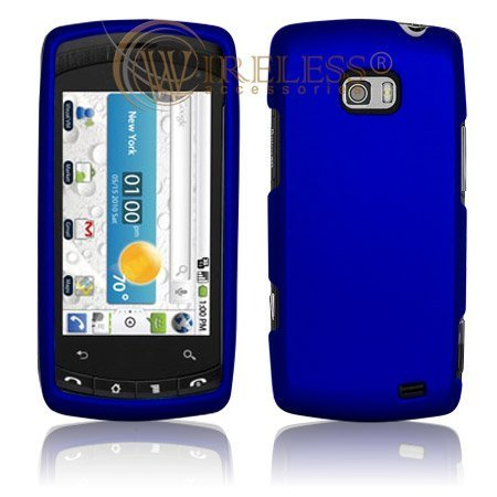 51jMP8WWs%2BL LG Ally VS740 Cell Phone Rubber Feel Dark Blue Protective Case Faceplate Cover