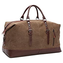Carry On Bag Canvas Travel Duffel Tote Unisex Weekender Bag (Coffee)