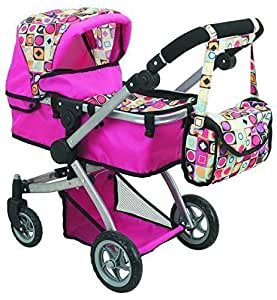 Doll Strollers Pro Deluxe Doll Pram With Swiveling Wheels & Adjustable Handle And Free Carriage Bag