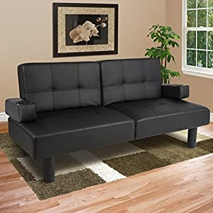 Best Choice Products Leather Faux Fold Down Futon Lounge Convertible Sofa Bed Couch - Black