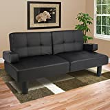 Best Choice Products® Leather Faux Fold Down Futon Sofa Bed...