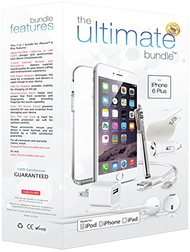 ★ The Ultimate Bundle for iPhone 6 Plus ★ - 7 in 1 Accessory Kit - White - Apple MFi-Certified - Gift Packaging Includes: 3ft MFi-Certified Lightning Cable, Wall Charger, Car Charger, 3.5mm Earbuds Headset with Remote and Mic, Clear HD Screen Protector w/ Cleaning Cloth, TPU Case, Stylus.