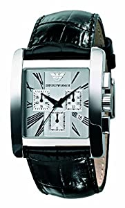 Emporio Armani Gents Chronograph Black Leather Strap Watch