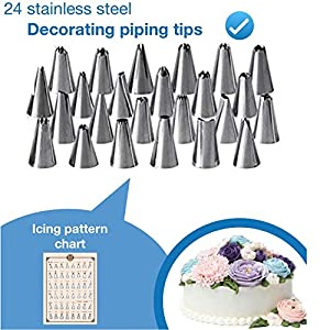 Shpebs UPDATED Cake Decorating Supplies | Cake Decorating Kit Baking Supplies Set | Rotating Cake Turntable Stand | Icing Piping Tips & Bags | Smoother & Spatulas, Frosting & Pastry Tools. (Tamaño: 65 pcs Package)