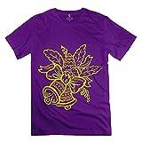 HTAD Men's T Shirt Christmas Bells Tshirt Purple Size L