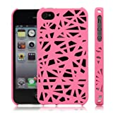 Interwove Line Bird's Nest Design Hollow Hard Protector Case for iPhone4 4S Pink