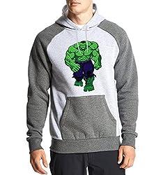 Fanideaz Men's Cotton Full Sleeves Giant Hulk Hoodies For Men (Premium Sweatshirt)_Charcoal Melange_L