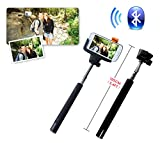 Ipow Extendable Self-portrait Wireless Bluetooth Remote Camera Shooting Shutter Monopod Selfie Handheld Stick Pole with Mount Holder specially designed for Iphone 5s 5c 5 4s 4 Samsung Galaxy Mobile Cell Phone,Black