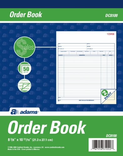 Adams Order Book, 2-Part, Carbonless, White/Canary, 8-3/8 x 10-11/16 Inches, 50 Sets per Book (DC8100)