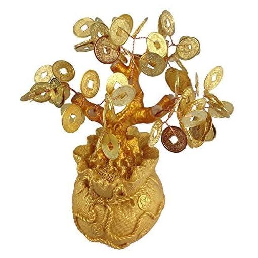 Feng-Shui-Glcksbaum-17-cm-Geldbaum-Bonsai-Pfennigbaum-Handarbeit-Stein-gold