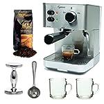 Capresso EC PRO 118.05 Professional Espresso & Cappuccino Machine with Grand Aroma Whole Bean Coffee (8.8oz),Espresso, Coffee Measure, ESPRESSO TAMPER (CD) with 2 pcs 10oz Handy Glass Coffee Mug made by Capresso