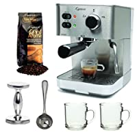 Capresso EC PRO 118.05 Professional Espresso & Cappuccino Machine with Grand Aroma Whole Bean Coffee (8.8oz),Espresso, Coffee Measure, ESPRESSO TAMPER (CD) with 2 pcs 10oz Handy Glass Coffee Mug by Capresso