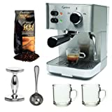 Capresso EC PRO 118.05 Professional Espresso & Cappuccino Machine with Grand Aroma Whole Bean Coffee (8.8oz),Espresso, Coffee Measure, ESPRESSO TAMPER (CD) with 2 pcs 10oz Handy Glass Coffee Mug