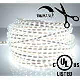 LEDJump® Bright Pure White Dimmable Linkable 300SMD LED Tape Ribbon Flexible Strip Lights 16.4 Ft 12v,3M Adhesive Back, Energy Saving Low Voltage Certify, 180 Degree Angel View Balance, Party Concert Home Decor Landscape Auto Under Cabinets lights for hallways stairs trails windows hotels decoration use Theaters clubs shopping malls festivals, UL CERTIFIED COMPLIANCE
