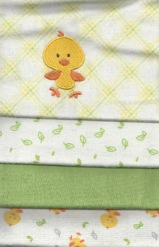 Carter's 4 Flannel Blanket Set For Baby Lime Green/Yellow Blankets Embroidered Ducky - 1