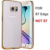 galaxy s7 edge case yeonphom ultra slim lightweight tpu soft transparent crystal clear back and electroplate plating tpu bumper case cover for samsung galaxy s7 edge gold