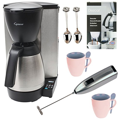 Capresso Mt600 Refurbished 10-Cup Programmable Coffee Maker W/ Thermal Carafe Plus Coffee Maker Bundle back-517284