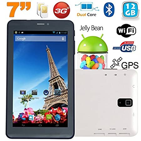 Tablette tactile 3G 7 pouces Dual SIM Android 4.2 Dual Core Blanc 12Go