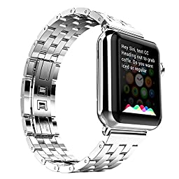 Apple Watch Strap, Monoy® Premium Stainless Steel Metal Replacement Watchband Classic Surface Finish Apple iWatch Band Strap with Precise Secure Folding Clasp For Apple Watch 38mm (38mm Sliver Stainless Steel)