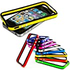 myLife Black + Yellow Slim Bumper (Metal Buttons - 360 Degree Side Protector) Gel Flex Case for the iPhone 4/4S (4G) 4th Generation Touch Phone (Soft Silicone Bumper Frame + Rubberized All Around Shock Absorbing Armor Skin)
