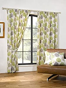 Autumn Leaf Green 90x54 Cotton Blend Lined Pencil Pleat Curtains #doowelgni