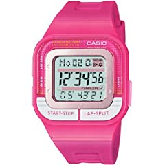Casio Women's SDB100-4A Pink Resin Quartz Watch with Digital Dial