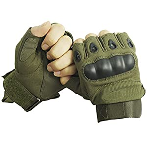 Outdoor Airsoft Hunting Cycling Motorcycle Driving Tactical Fingerless Gloves L Army Green from Gosear