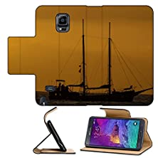 buy Luxlady Premium Samsung Galaxy Note 4 Flip Pu Leather Wallet Case Antique Vintage Sail Vessel On The Ocean At Sunset Image Id 27841649