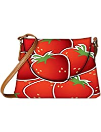 Snoogg Strawberry Sticker Background Card In Vector Format Womens Carry Around Sling Bags