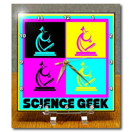 Dc_102397_1 Dooni Designs Cmyk Hipster Designs - Cmyk Pop Art Microscope Science Geek Design Cartoon - Desk Clocks - 6X6 Desk Clock