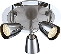 globo GU10 Tamas Ceiling Light Metal Chrome 3 x LED Nickel Matt from globo
