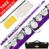 120-PR - PURPLE/NICKEL Keys Closed C Flute Lazarro+Pro Case,Care Kit - 10 COLORS Available ! CLICK on LISTING to SEE All Colors