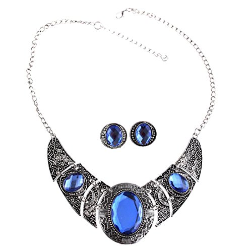 QIYUN.Z Tibet Silver Acrylic Royal Blue and Black Hollow Out Necklace Earrings Jewelry Set (Full Range Jewelry compare prices)