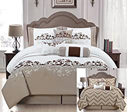 7 Pieces Luxury Reversible Taupe, White and Brown Comforter Set / Bed-in-a-bag King Size Bedding
