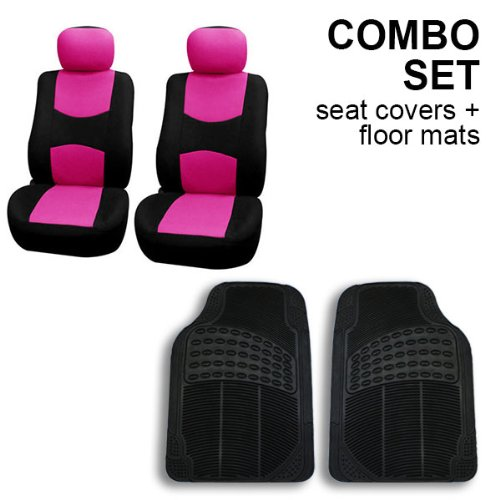 FH GROUP FH-FB050102 + V16404FRONT: Pink Flat Cloth Car Bucket Seat Covers and Black Front Vinyl Floor Mats (Tall Bucket Seat Covers compare prices)