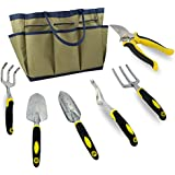 7 Piece Garden Tool Set, Durable, Heavy Duty Aluminum Alloy with Ergonomic Soft Touch Handles and Tool Bag
