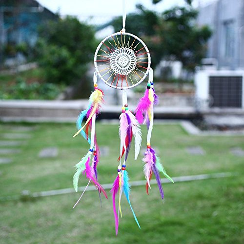 Soledi Dream Catcher Wall Hanging Ornament India Style Car Handmade Flower Dream Catcher Circular Net With feathers Decoration Decor Ornament Craft Gift Colorful