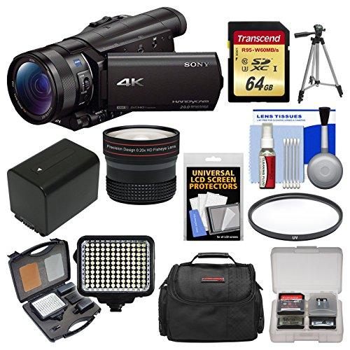 Sony Handycam Fdr-Ax100 Wi-Fi 4K Hd Video Camera Camcorder With 64Gb Card + Case + Led Light Set + Battery + Tripod + Fisheye Lens + Filter Kit