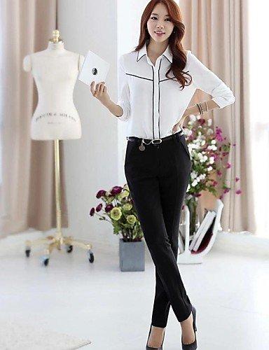 ZXR-femmes-incrust-de-bordure-noire-en-mousseline-de-soie--manches-longues-pour-homme