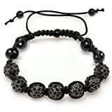 Beaded Crystal Bracelet Mens Ladies Unisex Hip Hop Style Pave 11 mm Seven Gunmetal Black Disco Ball Faceted Bead Unisex Adjustable Picture