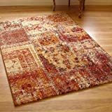 Woodstock 32487-8312 Red, Terracotta & Cream Panel Design Rug