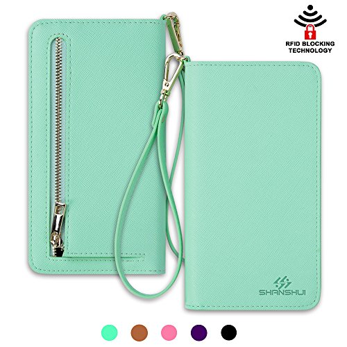 Smart Phone Wristlet,SHANSHUI Wallet Clutch Purse Case for Apple iPhone 6S / 6 Plus, Samsung Galaxy S6 / S6 Edge / S6 Edge+ / Note 5 / Note 4 , Google Nexus, HTC One M9 / M8, Sony Xperia, LG (L-Green) (Target D6 compare prices)