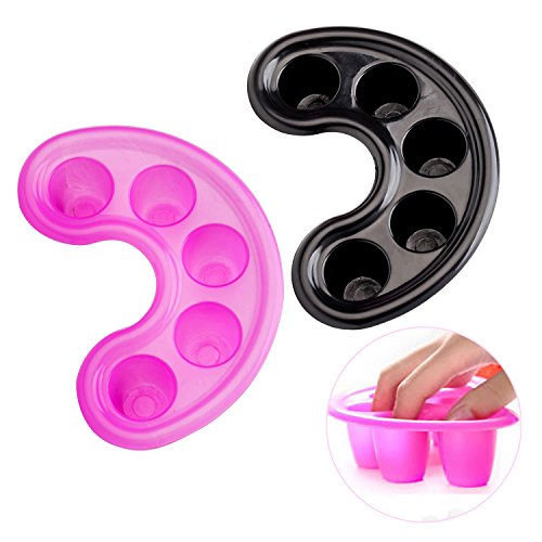 Premium-Set-of-2-Plastic-Nail-Art-Manicure-Acetone-Resistant-Nails-Soaking-Trays-Soakers-In-Pink-And-Black-By-VAGA