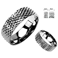 Titanium Band with Textured Design Sizes 5 to 14 - Width 6-8 mm - Herculean